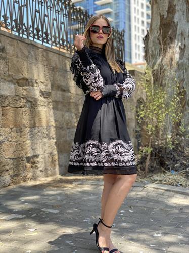 שמלת שיפון שילוב ריקמות