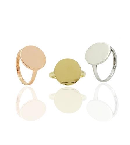 טבעת חותם לאישה זהב 14 קרט ניתן לחרוט