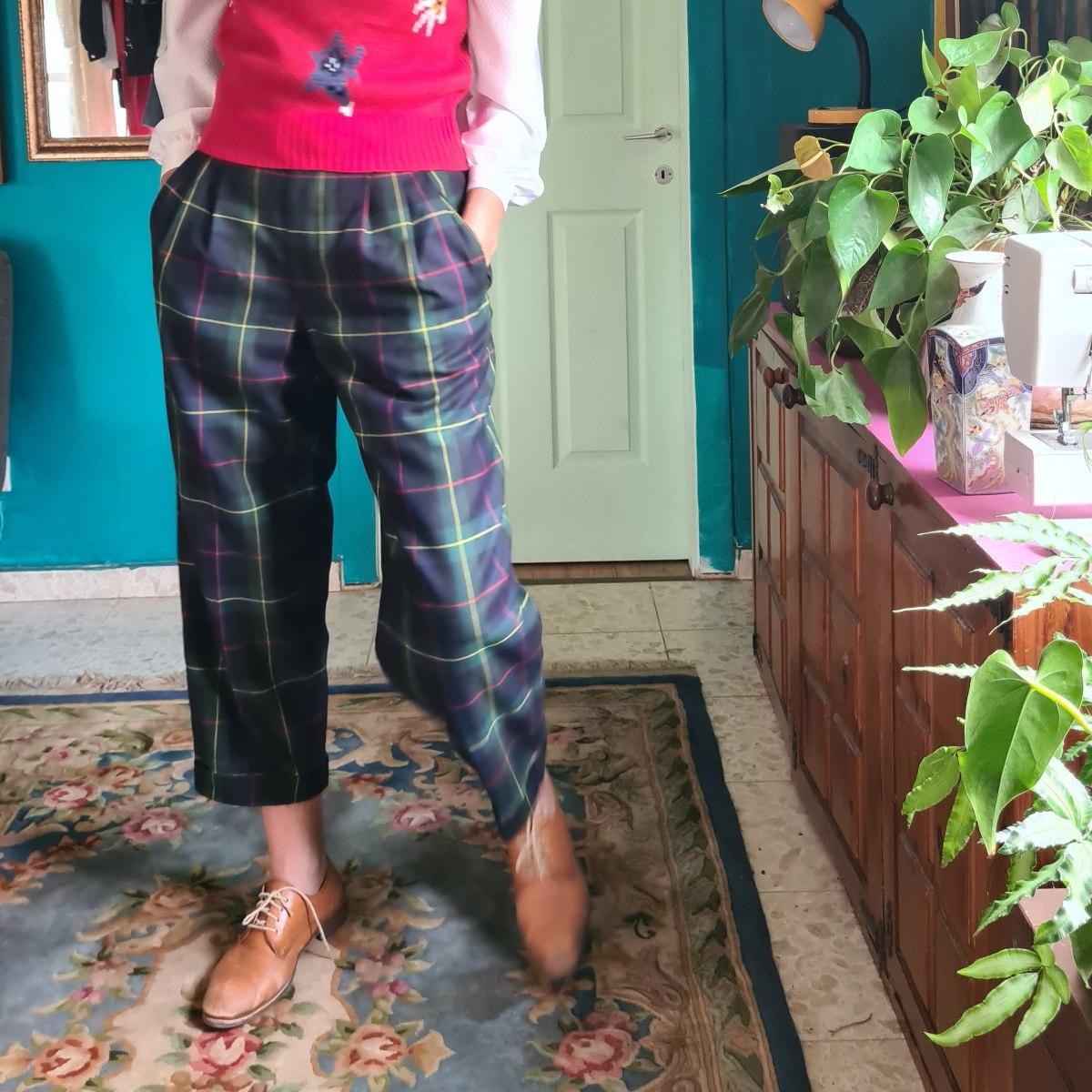 מכנסיים משובצים בירוק L/XL