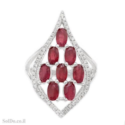 טבעת מכסף משובצת אבני רובי ואבני זרקון קטנות  RG6235 | תכשיטי כסף 925 | טבעות כסף
