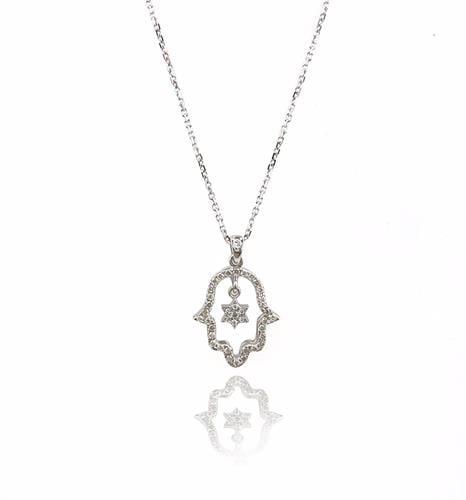 שרשרת חמסה משובצת יהלומים בשילוב מגן דוד