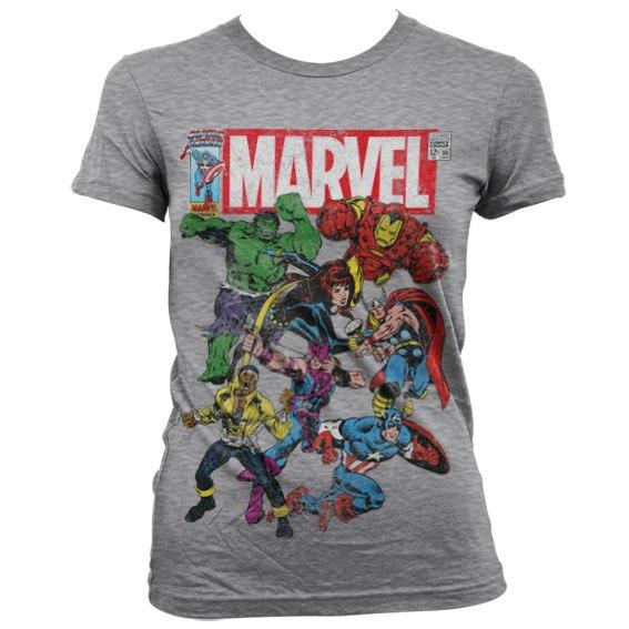 Marvel Team Up גזרת נשים - אפור