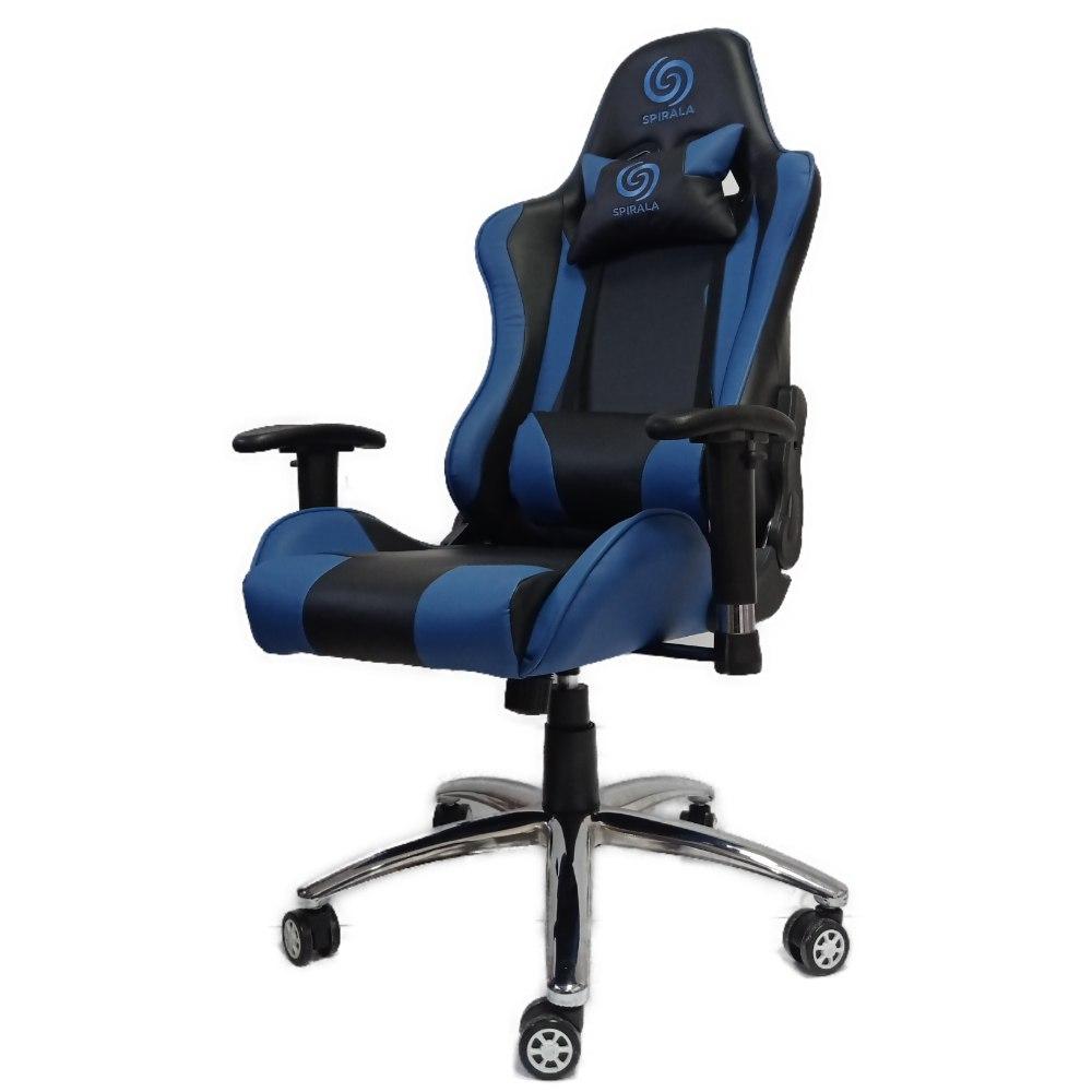כיסא גיימינג דגם מארס - Mars אורטופדי, ידיות מתכווננות, משענת מתכוונת עד 180 מעלות בצבעים שחור וכחול