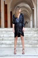 שמלת פייטים סנטנה שחורה