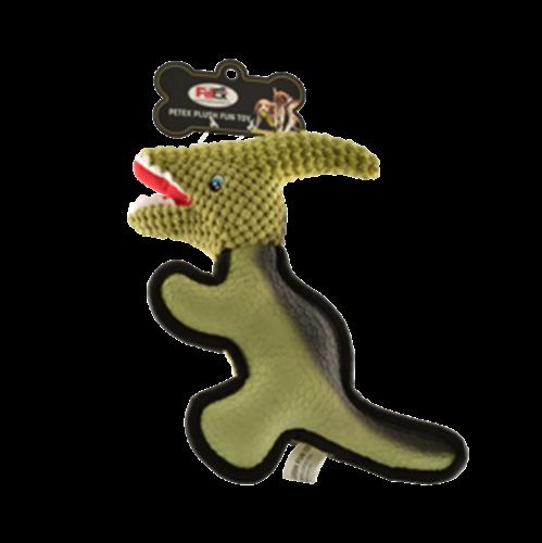 פטקס בובת משחק לכלב בדמות דינוזאור בצבע ירוק