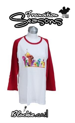 חולצה אמריקאית צבע אדום הדפס גראפי פיטריות