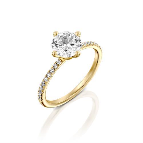טבעת אירוסין זהב צהוב 14 קראט משובצת יהלומים STIRD MARTINI