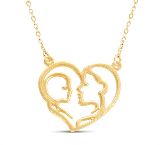 שרשרת לב אמא מביטה על תינוק