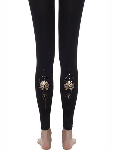 גרביון ללא כף רגל 'GOLD LOTUS' - שחור