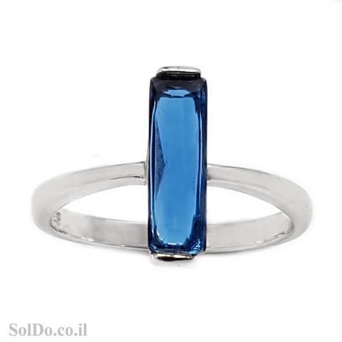 טבעת מכסף משובצת אבן זרקון כחולה בצורת מלבן RG1632 | תכשיטי כסף 925