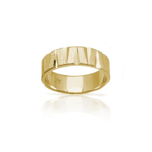 טבעת נישואין בשילובי טקסטורות מאט מוטות ופסים מבריקים- דגם M155