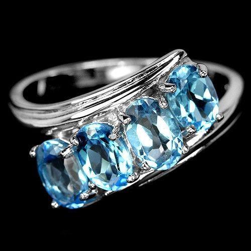 טבעת כסף משובצת טופז כחול RG2200 | טבעות כסף | תכשיטי כסף