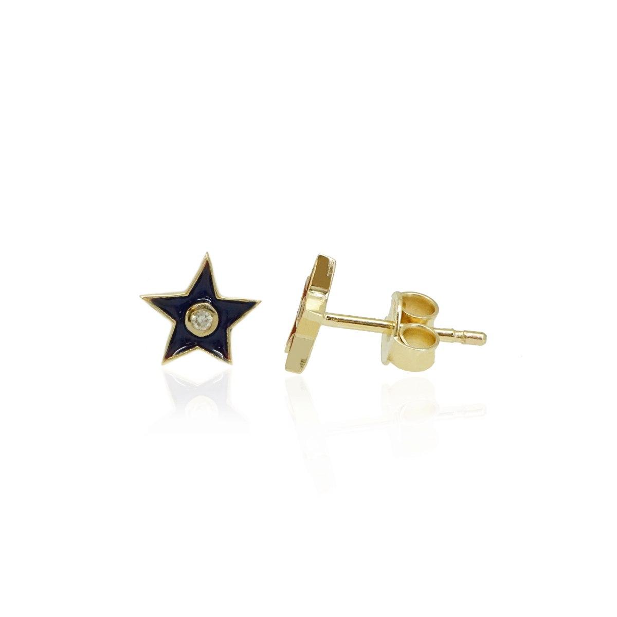 עגילי כוכב זהב משובצים יהלומים ואמייל