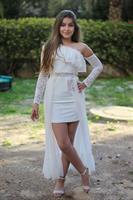 שמלת כתף אחד לבת מצווש