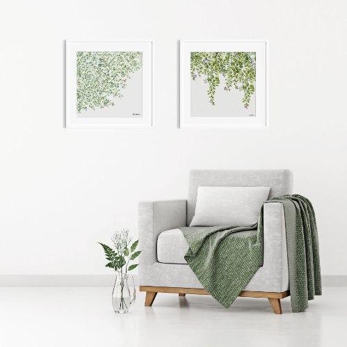 זוג תמונות לסלון - סט ציורי טבע