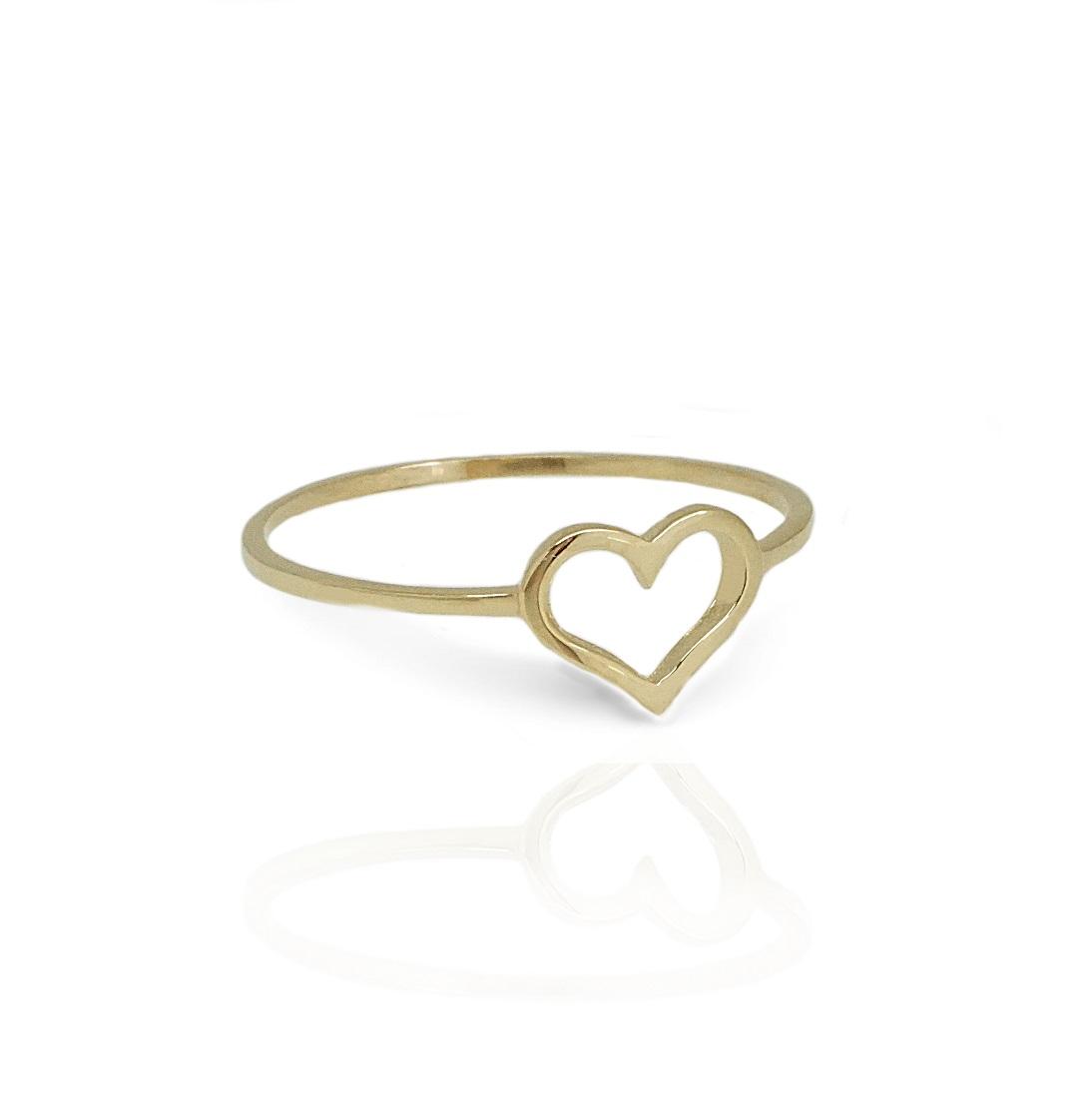 טבעת זהב לב חלול לזרת 14 קרט