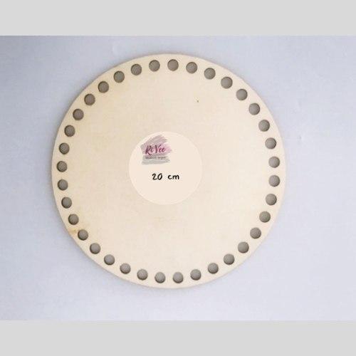 תחתית עץ עגולה לסריגת סל/סלסלה, תחתית בסיס לסלסלה קוטר 20 סמ