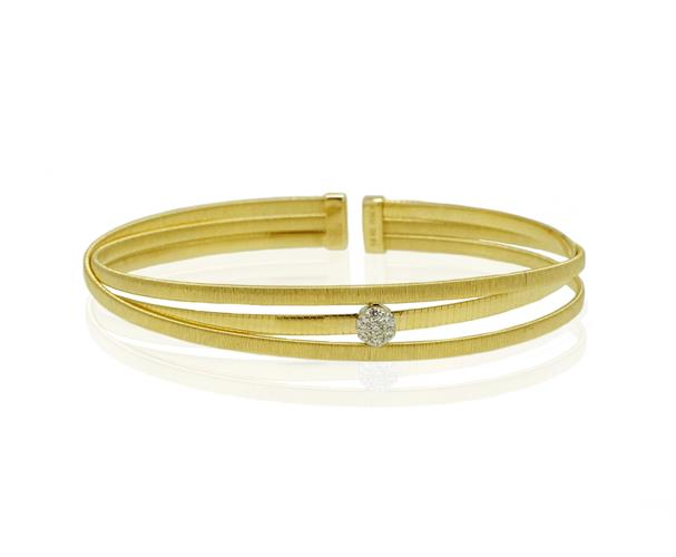 צמיד קשיח 3 שורות זהב עם זרקונים בזהב 14 קאראט
