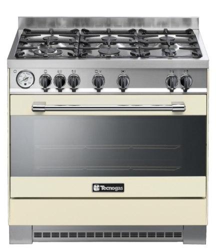 """תנור בישול ואפייה 6 בוערים משולב גז 90 ס""""מ טכנוגז קרם TECNOGAS P1C96E6VC"""