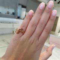 טבעת זהב 14K פתוחה משובצת יהלומים 0.10 קראט ואבני רובי