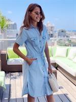 שמלת ג'ינס קופר כפתורים שרוך קשירה