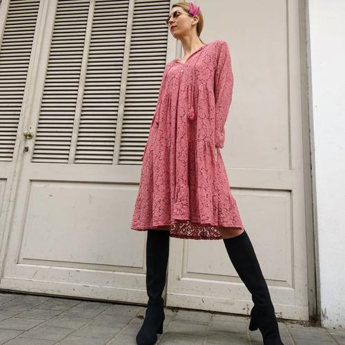 שמלת HOLLY תחרה - ורוד עתיק