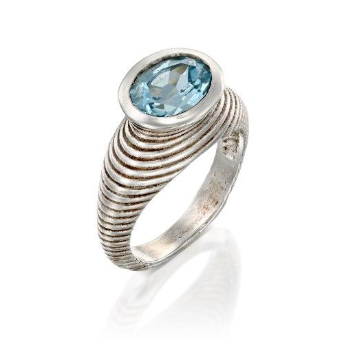 טבעת כסף  משובצת בלוטופז  השראה שבט ארוכות הצוואר נועה טריפ noa tripp