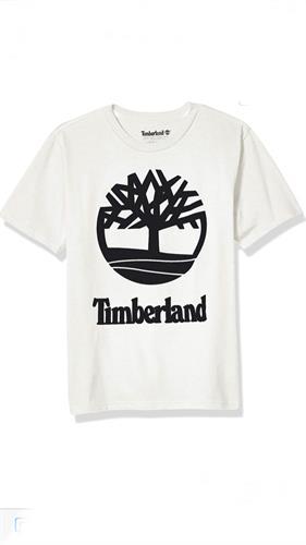 חוולצה לבנה לוגו שחור timberland