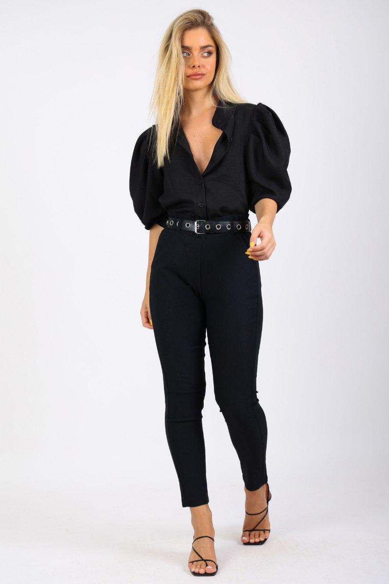 מכנס מייגן  שחור חלק