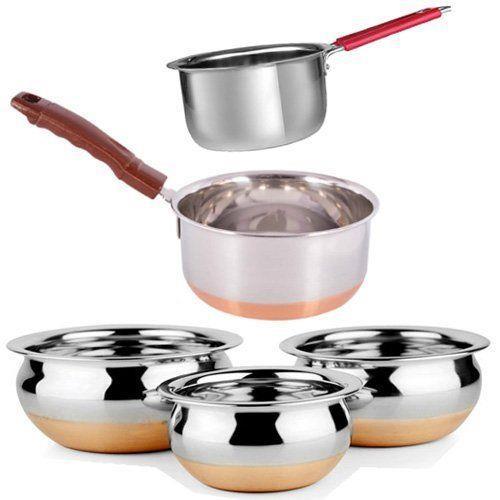 5 Pcs Set Stainless Steel Kitchen Tea Pots Milk Sauce Pan Serving Copper Bottom