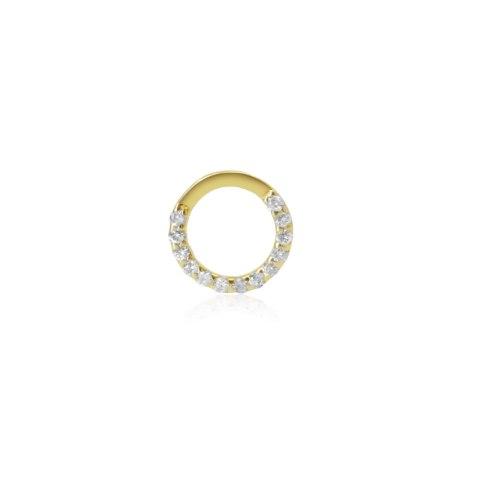 עגיל זהב בודד עם יהלומים 0.10 קראט|עגיל עיגול