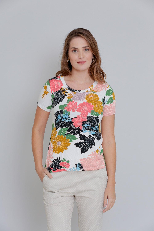 חולצת טריקו פרחונית שרוול קצר