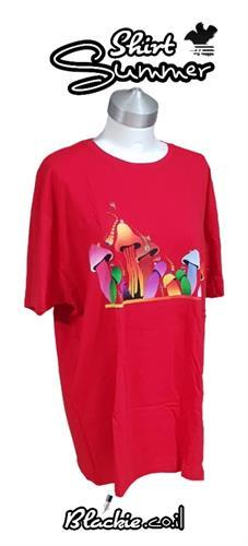 """חולצה אדומה לקיץ הדפס גראפי """"פיטריות""""🍄"""