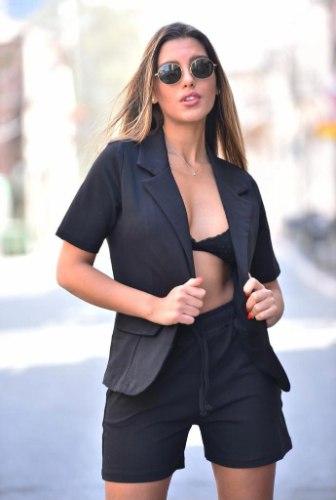 חליפה ג'קט מכנסיים קצרים - שחור FM
