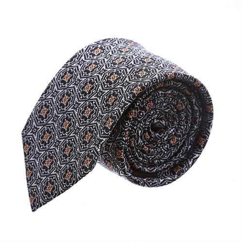 עניבה פרחים סימטרים אפור שחור