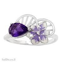 טבעת כסף משובצת אבן אמטיסט מעוצבת פרח בשילוב אמייל RG6103 | תכשיטי כסף 925 | טבעות כסף