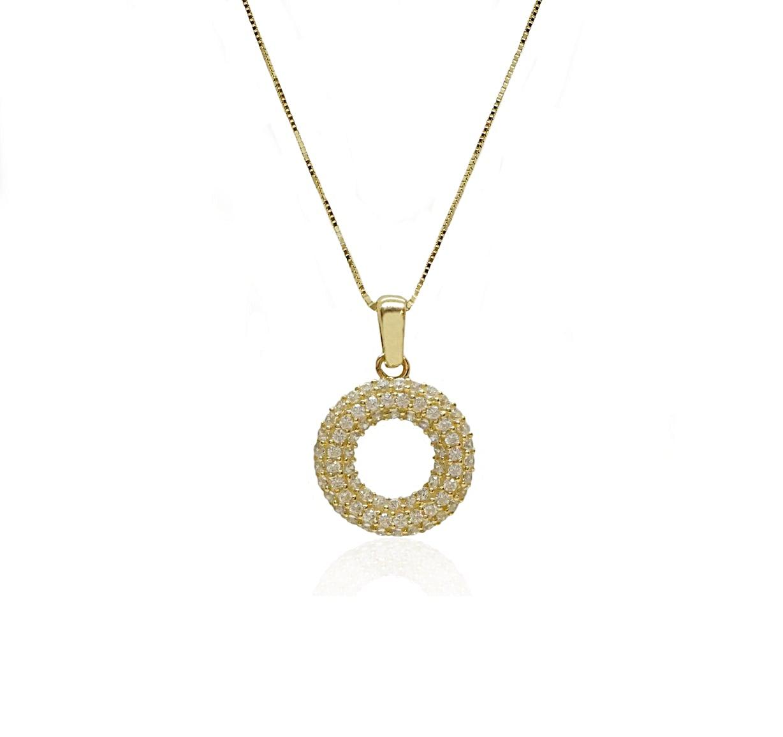 שרשרת זהב עיגול עם זרקונים שרשרת יפהפייה