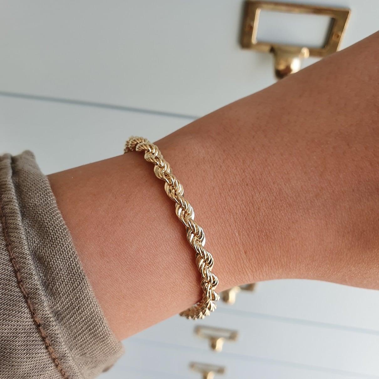 צמיד זהב חבל בינוני 14 קראט  לאישה ארוך
