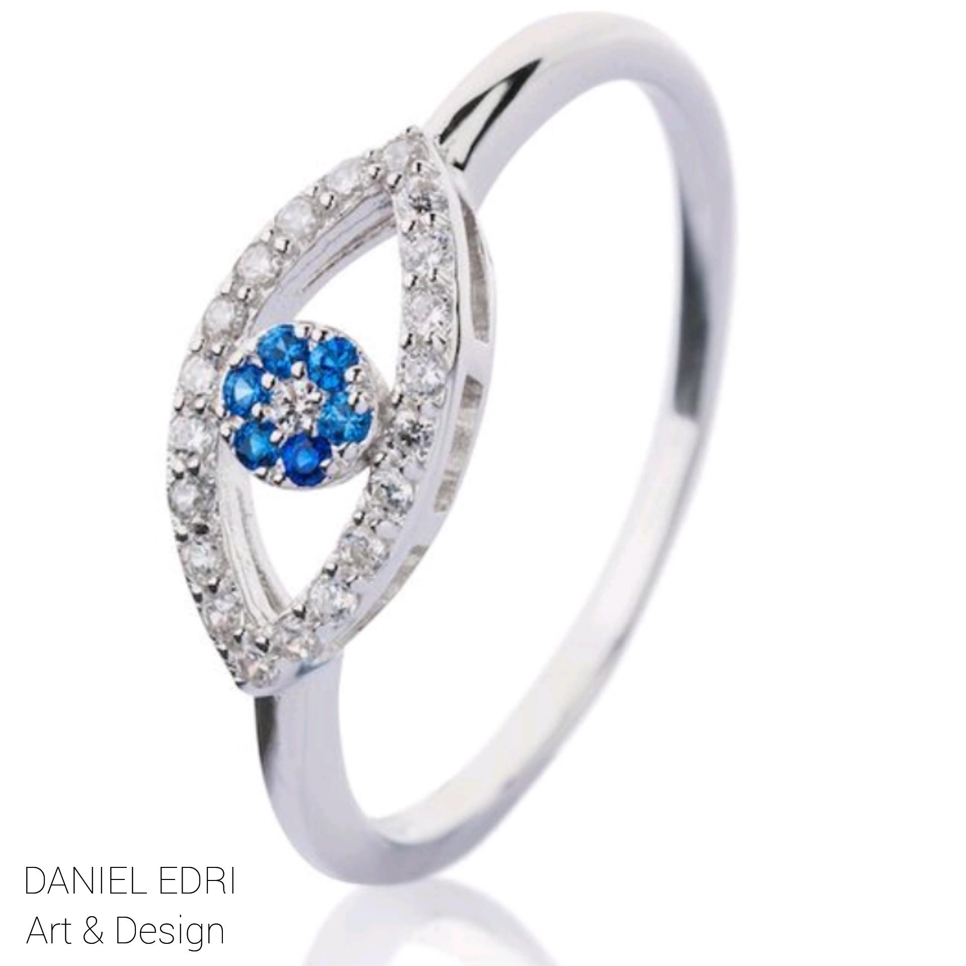 טבעת עין משובצת כחולה - כסף