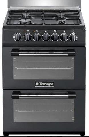 """תנור בישול ואפייה משולב דו תאי הילכתי גז 60 ס""""מ טכנוגז שחור TECNOGAS P3B66EE4VEIS"""