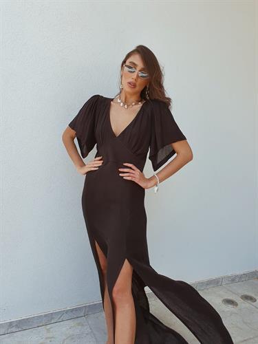 שמלת שילה מקסי - שחורה