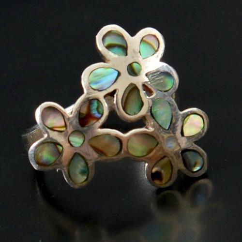 טבעת כסף משובצת צדף ירוק RG5188