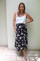 חצאית מעטפת פרחים שחור
