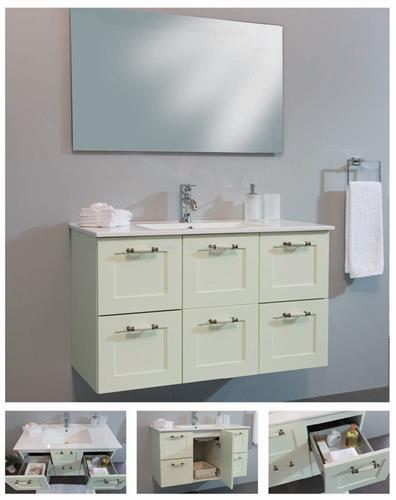 ארון אמבטיה תלוי 4 מגירות ודלת דגם פרובנס