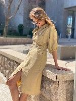שמלת כותנה שילוב שסע
