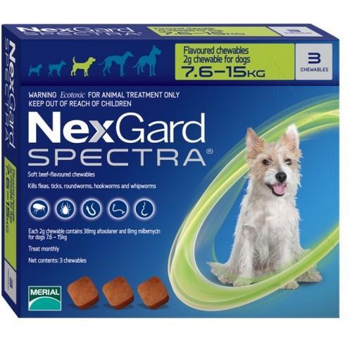 "NexGard Spectra חבילת 3 כדורים בטעם עוף נגד פרעושים וקרציות לכלבים במשקל 15-7.5 ק""ג"