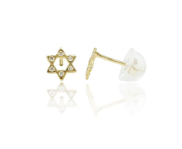עגילי זהב מגן דוד עם זרקונים חמודים