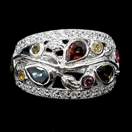 טבעת כסף משובצת אבני טורמלין וזרקונים RG1931