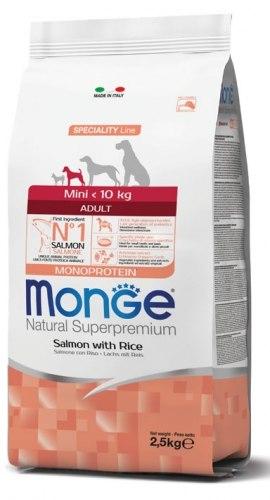 """MONGE מונג' לכלב מיני אדולט סלמון ואורז 7.5 ק""""ג"""