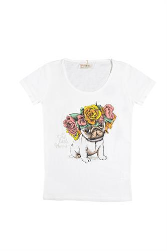 חולצת כלב פרחים